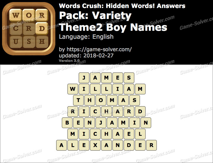 Words Crush Variety-Theme2 Boy Names Answers