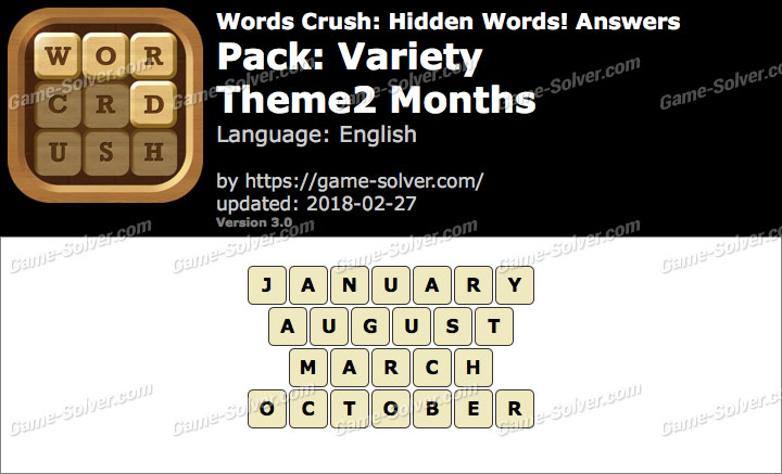 Words Crush Variety-Theme2 Months Answers