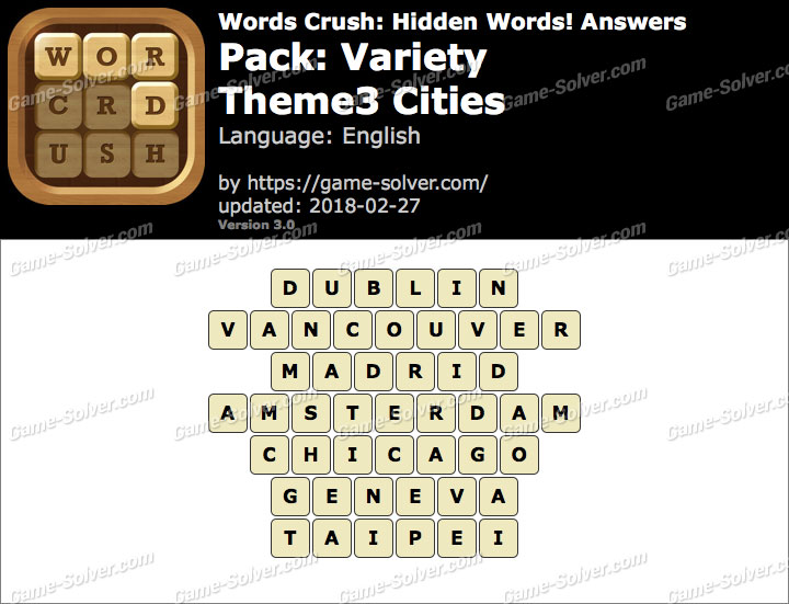 Words Crush Variety-Theme3 Cities Answers