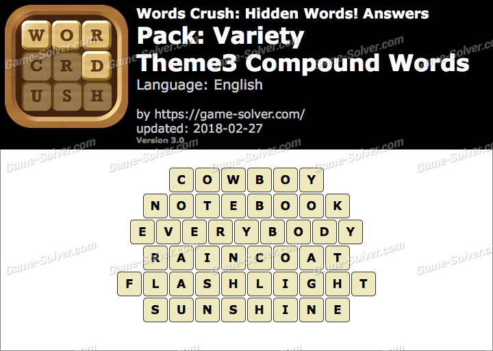 Words Crush Variety-Theme3 Compound Words Answers
