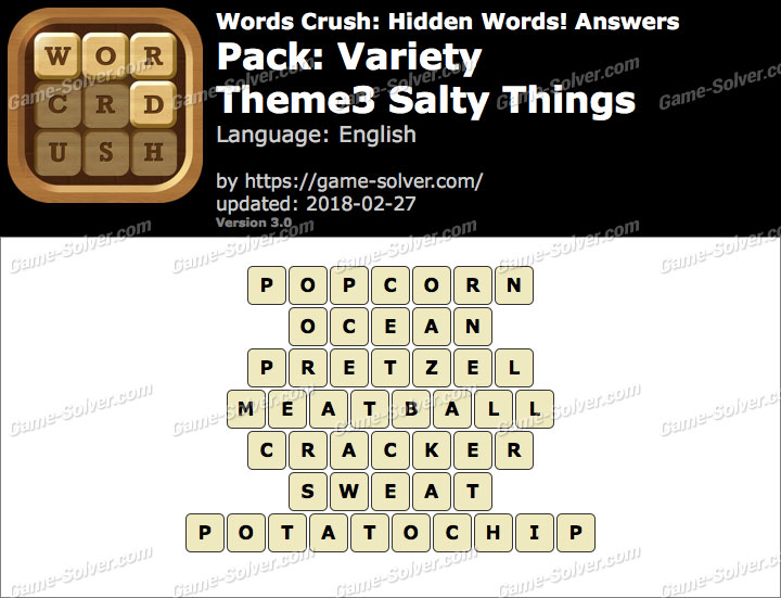 Words Crush Variety-Theme3 Salty Things Answers