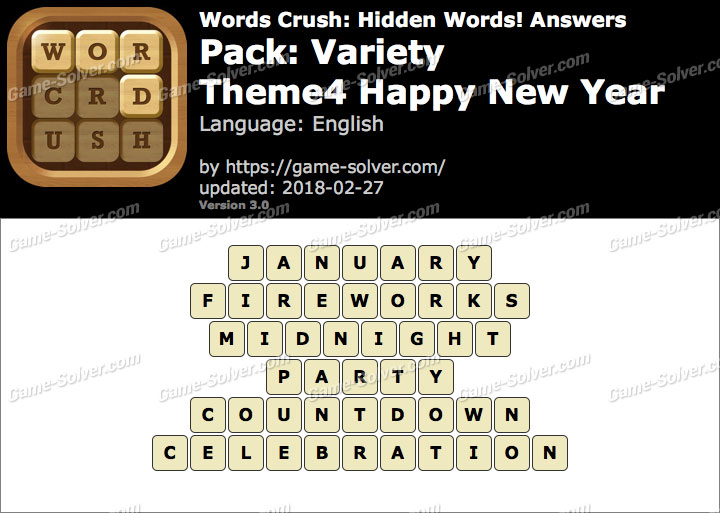 Words Crush Variety-Theme4 Happy New Year Answers