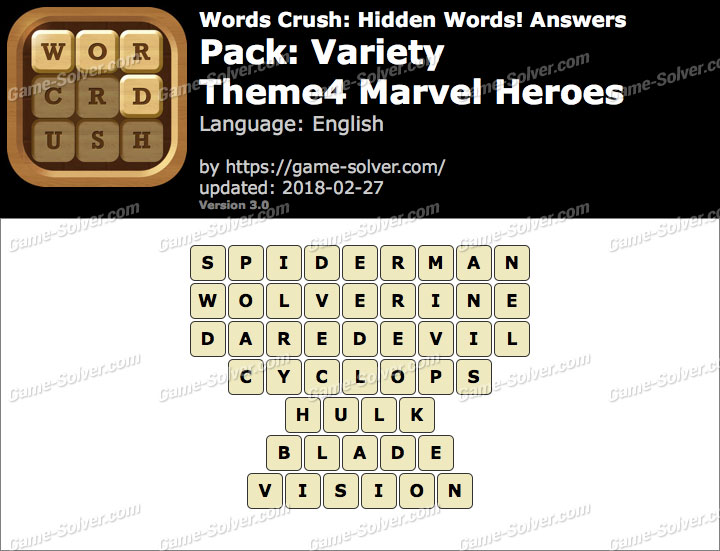Words Crush Variety-Theme4 Marvel Heroes Answers