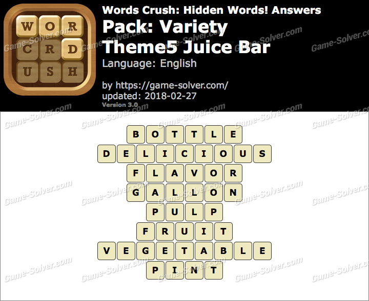 Words Crush Variety-Theme5 Juice Bar Answers