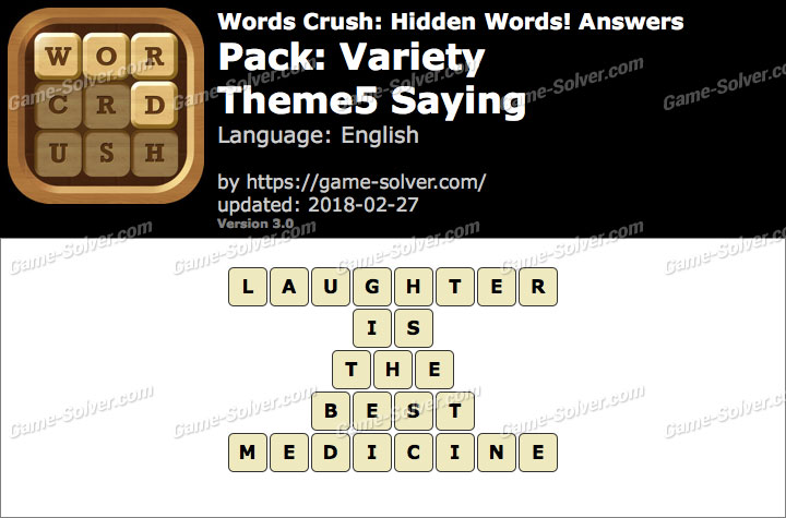 Words Crush Variety-Theme5 Saying Answers