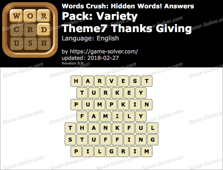 Words Crush Variety-Theme7 Thanks Giving Answers