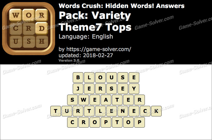 Words Crush Variety-Theme7 Tops Answers