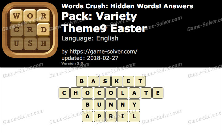 Words Crush Variety-Theme9 Easter Answers
