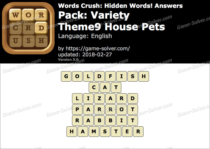 Words Crush Variety-Theme9 House Pets Answers