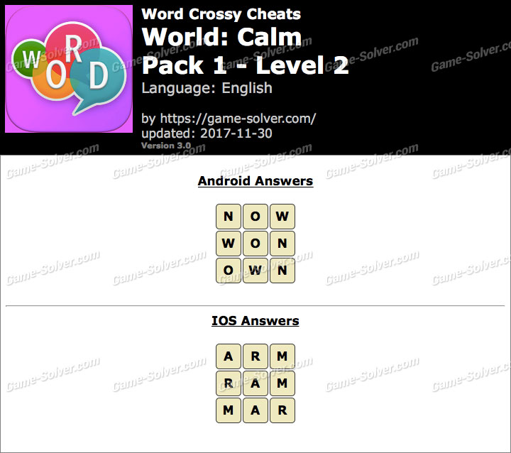 Word Crossy Calm Pack 1 Level 2 Answers