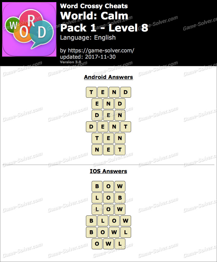 Word Crossy Calm Pack 1 Level 8 Answers