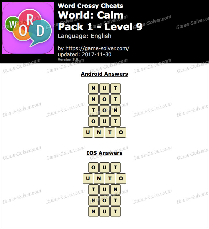 Word Crossy Calm Pack 1 Level 9 Answers