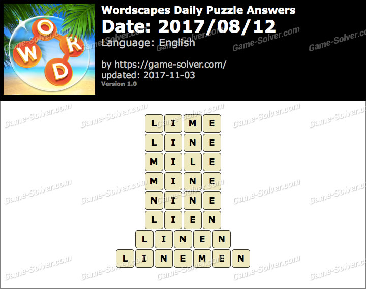 Wordscapes Daily Puzzle 2017 August 12 Answers