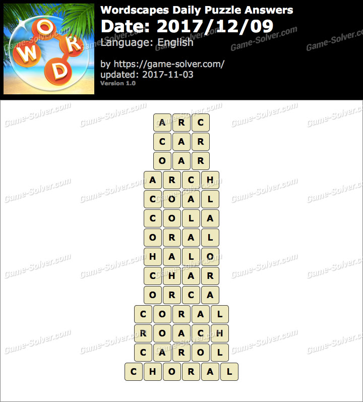 Wordscapes Daily Puzzle 2017 December 09 Answers