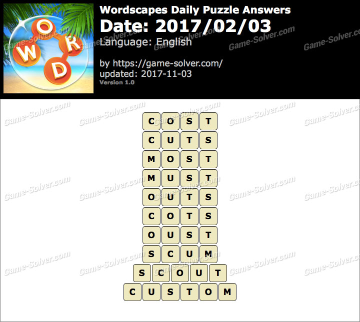 Wordscapes Daily Puzzle 2017 February 03 Answers