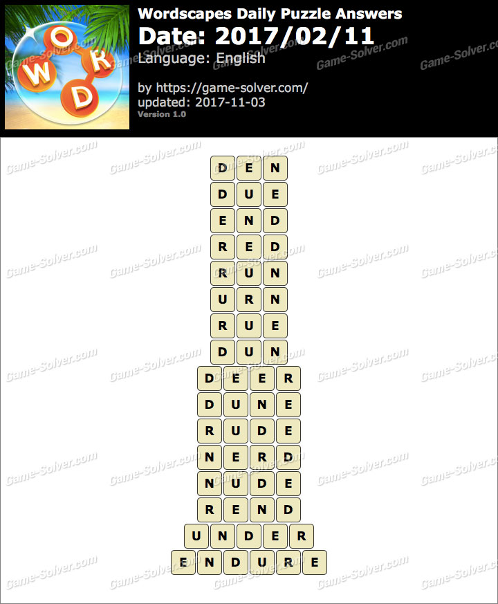 Wordscapes Daily Puzzle 2017 February 11 Answers