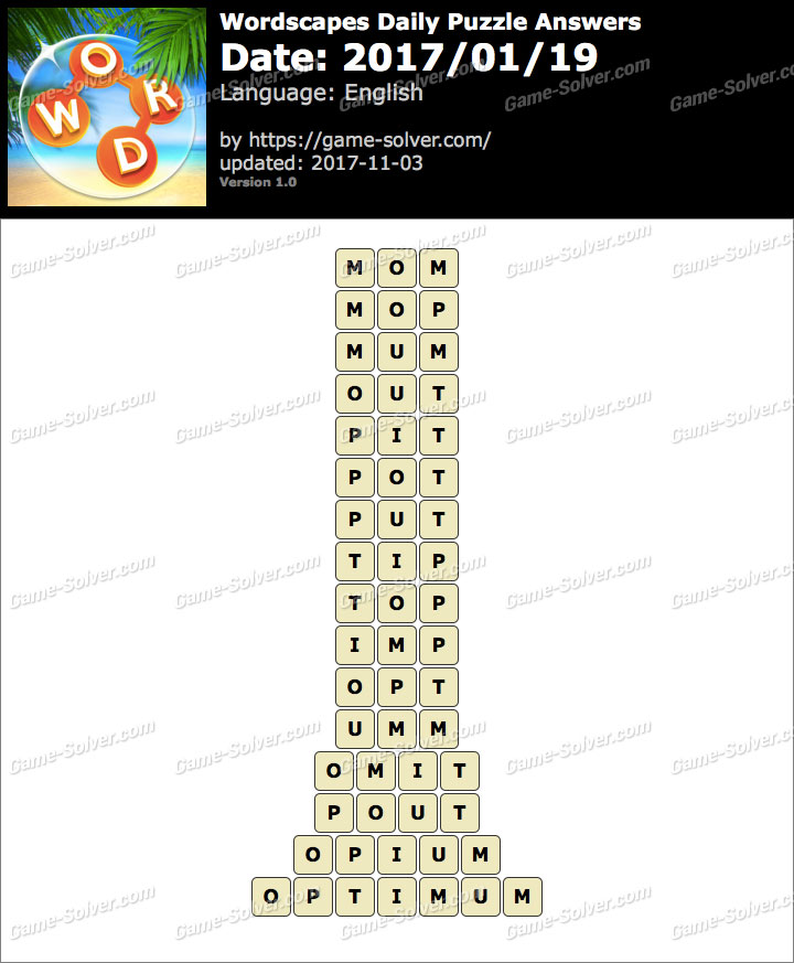 Wordscapes Daily Puzzle 2017 January 19 Answers