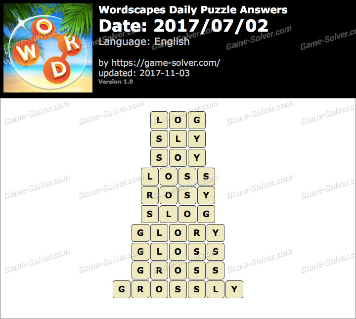 Wordscapes Daily Puzzle 2017 July 02 Answers