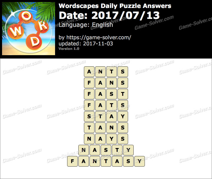 Wordscapes Daily Puzzle 2017 July 13 Answers