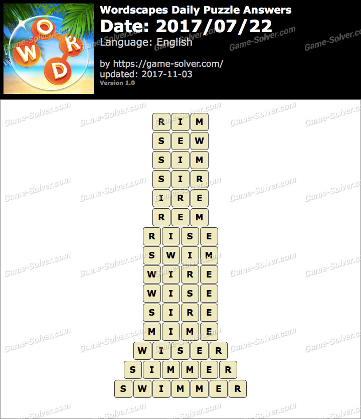 Wordscapes Daily Puzzle 2017 July 22 Answers