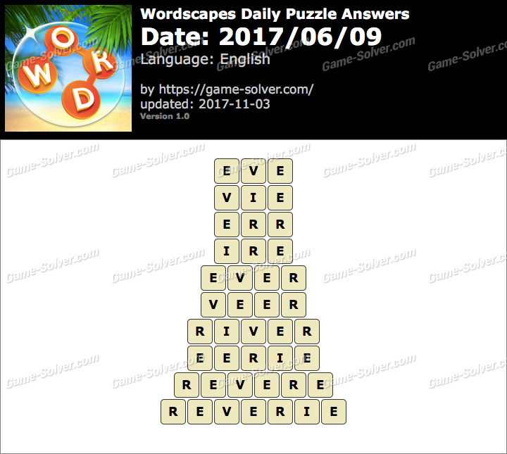 Wordscapes Daily Puzzle 2017 June 09 Answers