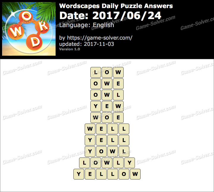 Wordscapes Daily Puzzle 2017 June 24 Answers