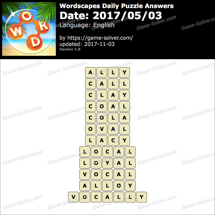 Wordscapes Daily Puzzle 2017 May 03 Answers