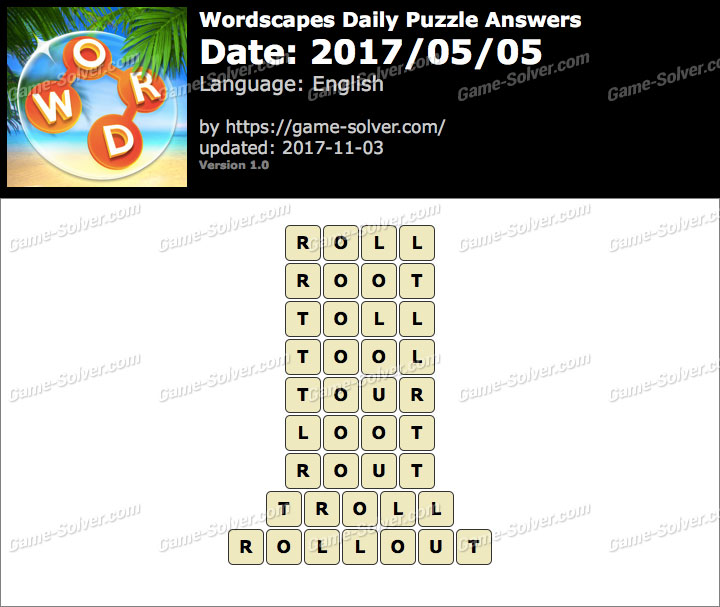 Wordscapes Daily Puzzle 2017 May 05 Answers