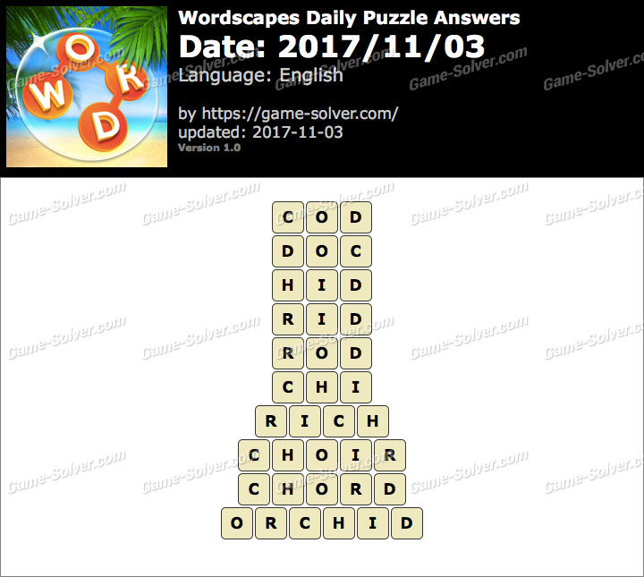 Wordscapes Daily Puzzle 2017 November 03 Answers