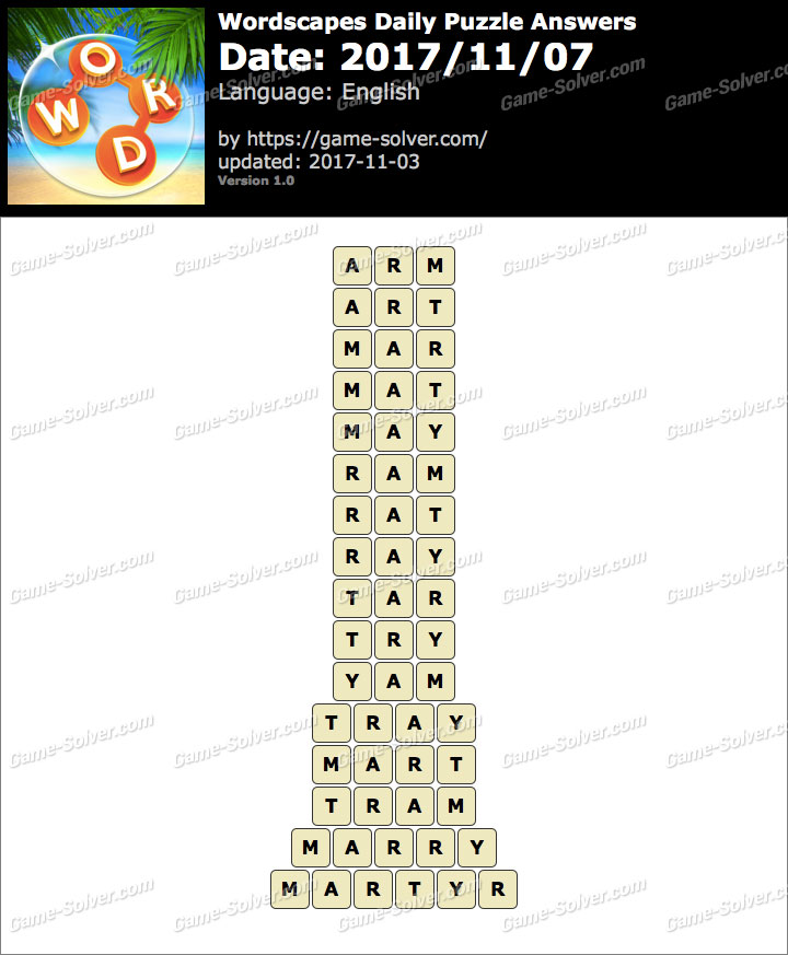 Wordscapes Daily Puzzle 2017 November 07 Answers