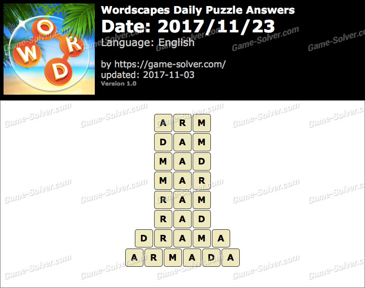 Wordscapes Daily Puzzle 2017 November 23 Answers