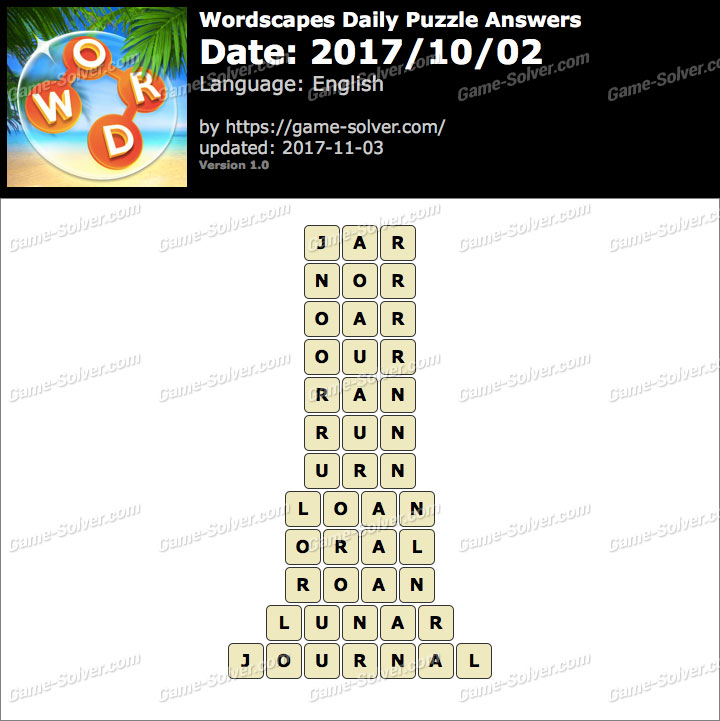 Wordscapes Daily Puzzle 2017 October 02 Answers