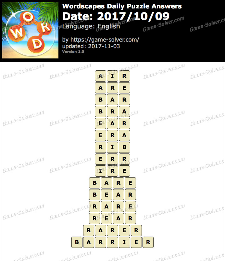 Wordscapes Daily Puzzle 2017 October 09 Answers
