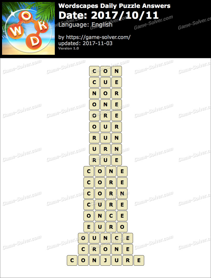 Wordscapes Daily Puzzle 2017 October 11 Answers