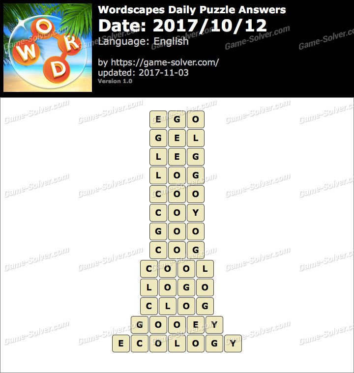 Wordscapes Daily Puzzle 2017 October 12 Answers