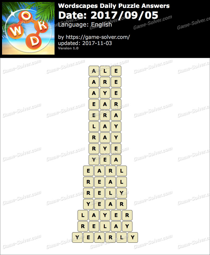 Wordscapes Daily Puzzle 2017 September 05 Answers