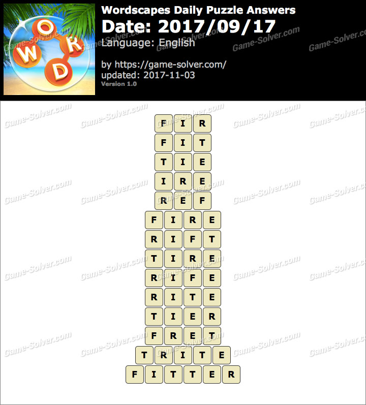 Wordscapes Daily Puzzle 2017 September 17 Answers