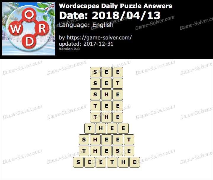 Wordscapes Daily Puzzle 2018 April 13 Answers
