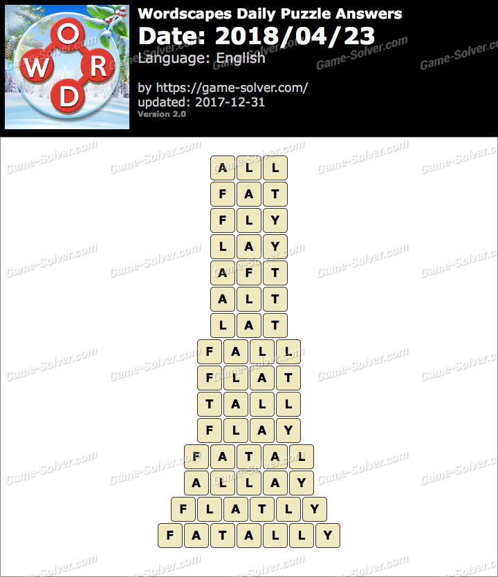 Wordscapes Daily Puzzle 2018 April 23 Answers