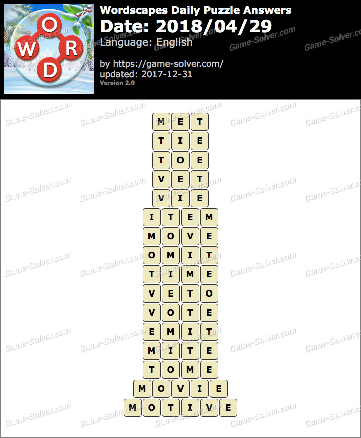 Wordscapes Daily Puzzle 2018 April 29 Answers