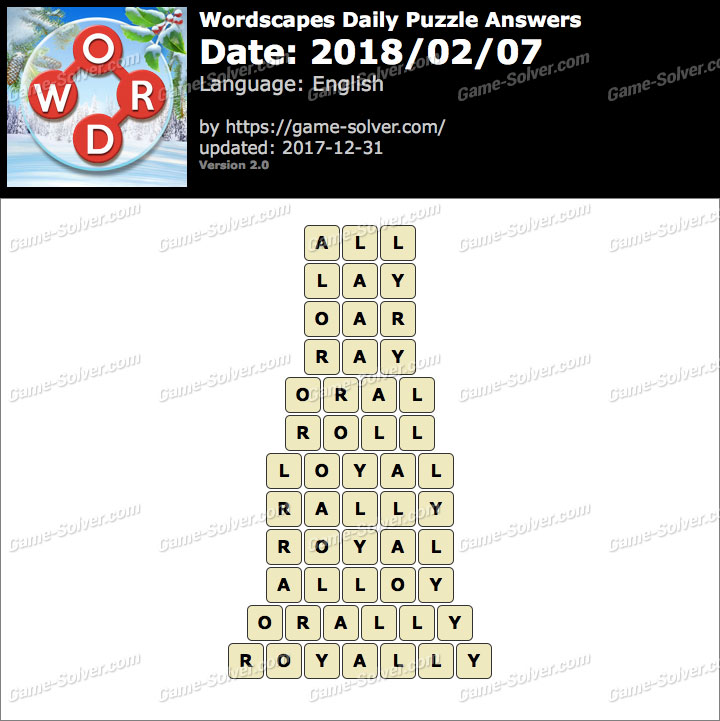 Wordscapes Daily Puzzle 2018 February 07 Answers