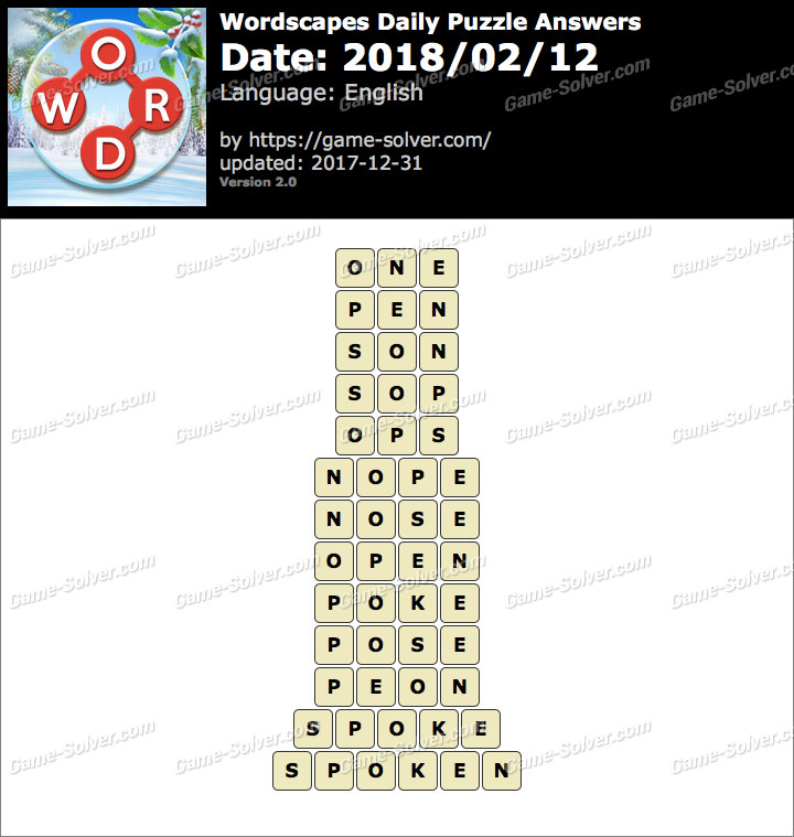 Wordscapes Daily Puzzle 2018 February 12 Answers