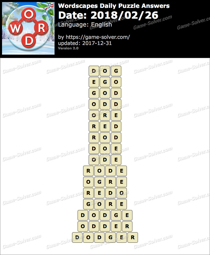 Wordscapes Daily Puzzle 2018 February 26 Answers