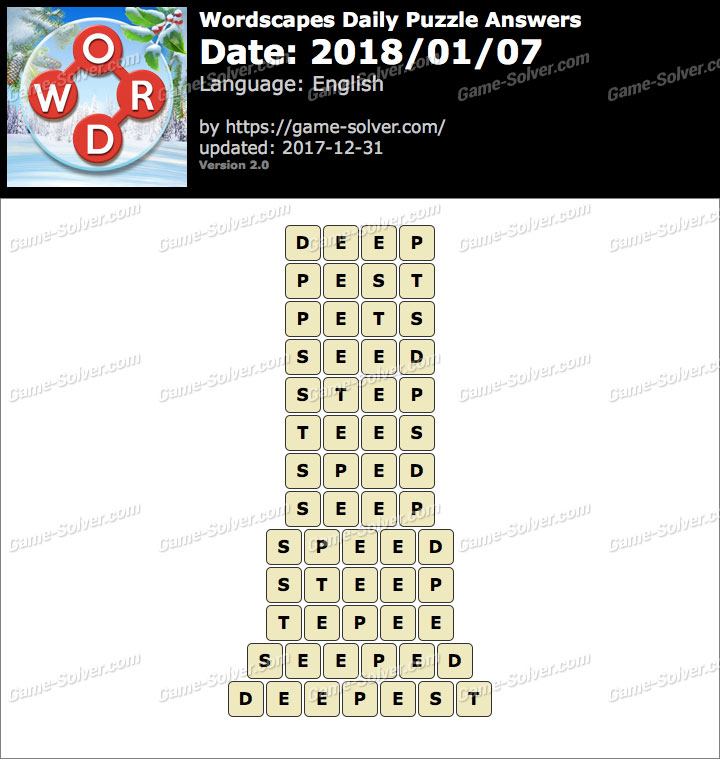 Wordscapes Daily Puzzle 2018 January 07 Answers