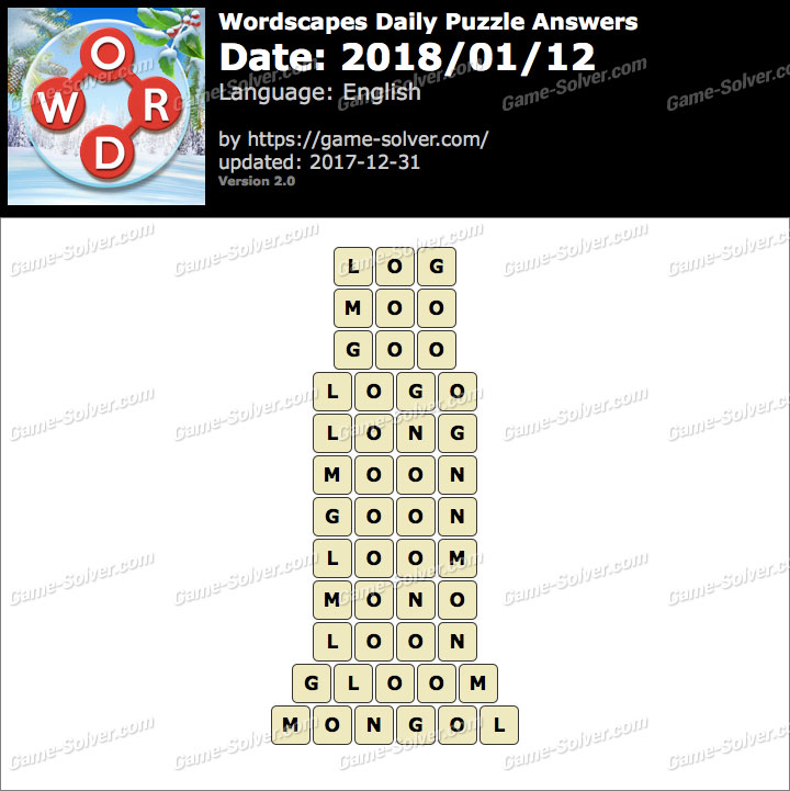 Wordscapes Daily Puzzle 2018 January 12 Answers