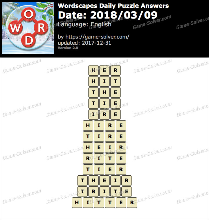 Wordscapes Daily Puzzle 2018 March 09 Answers