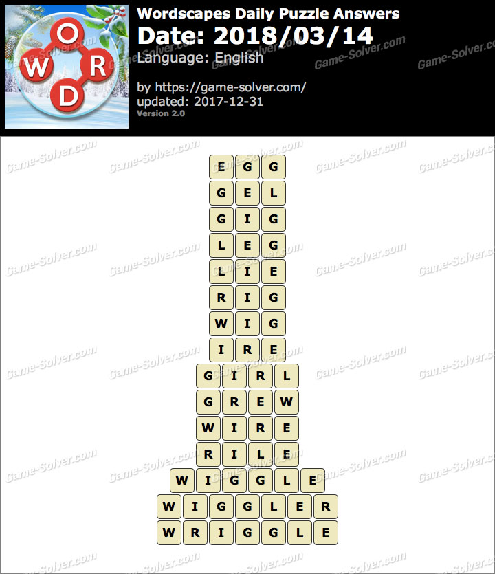 Wordscapes Daily Puzzle 2018 March 14 Answers