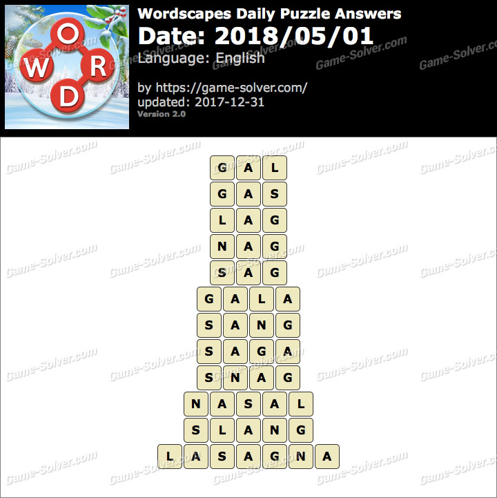 Wordscapes Daily Puzzle 2018 May 01 Answers