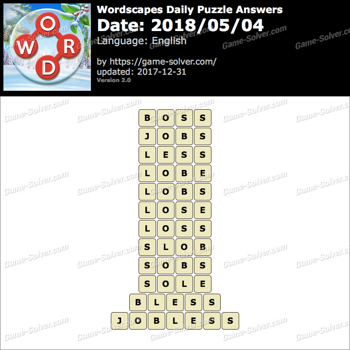 Wordscapes Daily Puzzle 2018 May 04 Answers