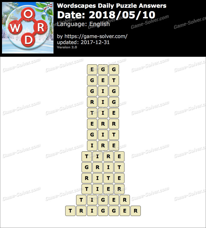 Wordscapes Daily Puzzle 2018 May 10 Answers